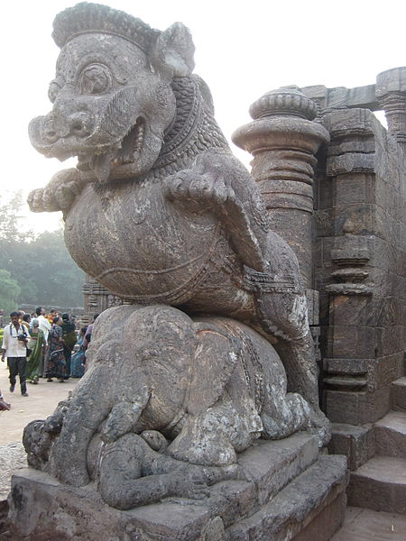 Sculpture of Giant Lion, Elephant and Man