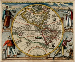 Map of America, or the New World, by Theodor de Bry, 1596. The four figures are, clockwise from top left, Christopher Columbus,  Amerigo Vespucci, Francisco Pizzaro and Ferdinand Magellan.