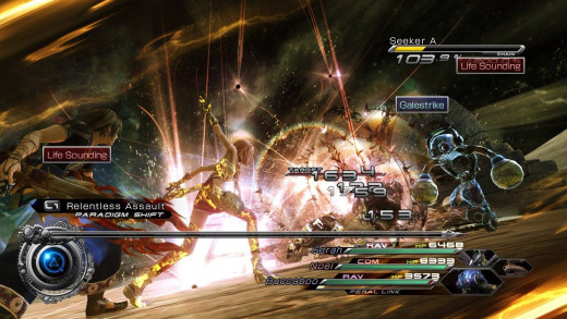 Combat in Final Fantasy XIII-2.