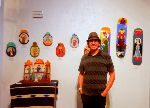 Ronn Miera and his santos, both traditional and contemporary.