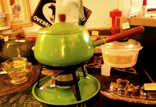 This green fondue pot comes with the basics.