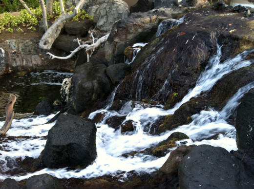Water Cascading Over Lava Rock