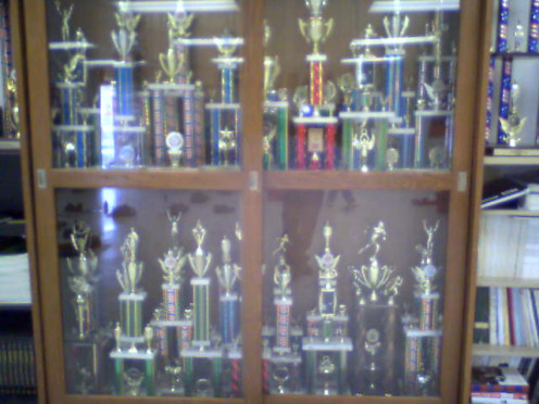 High school trophies. Some people buy their own trophies today through the mail or via the Internet, very inexpensively.