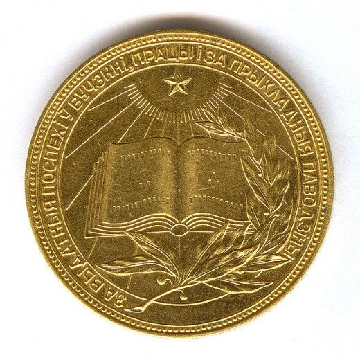 Golden Medal of High Achievement in school; Belarus, 1962. This was a very much coveted award.