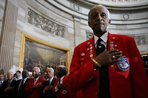 March 29, 2007. In the US Capitol, Tuskegee Airmen of WWII received the Congressional Gold Medal, the highest civilian award bestowed by Congress.