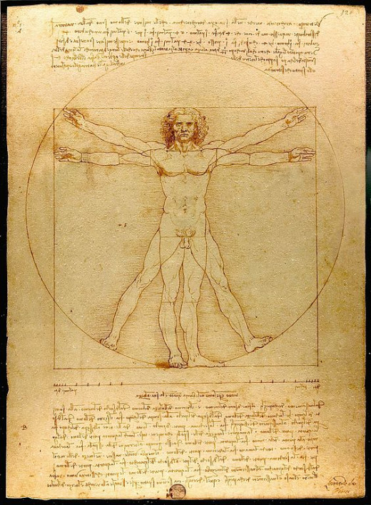 Leonardo da Vinci's Vitruvian Man illustrates the Golden Ratio in human proportions.