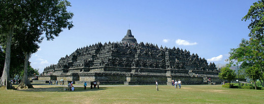Borobudur Temple at in Magelang, Central Java, Indonesia. An example of Buddhist-style Temple