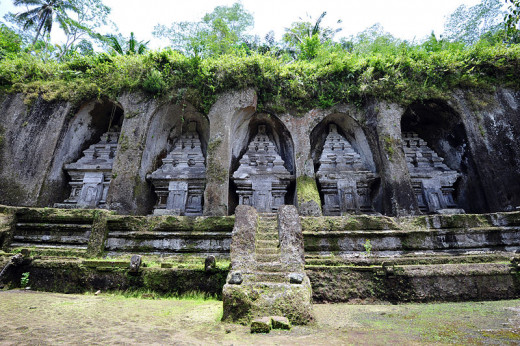 Padas Temple in Kawi Mountain, Tampaksiring, north east of Ubud in Bali, Indonesia. In this place there are ten temples were carved as reliefs on Pakerisan cliffs.