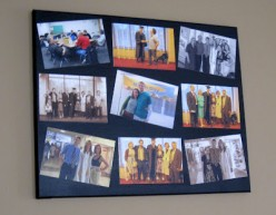 A canvas photo college is a fun, cheap way to display photos of friends and family.