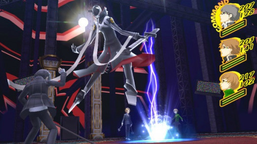 The protagonist using his Persona in battle.