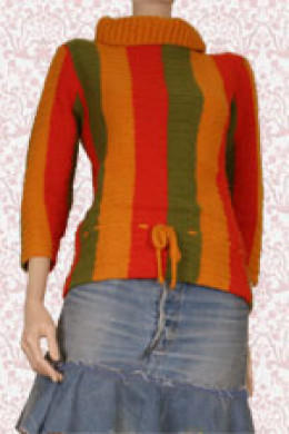 A hot dog sweater.  Any striped sweater needs blocking to keep the lines straight and sleek looking.