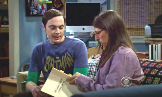 Amy reviewing the Relationship Agreement that was written by Sheldon.