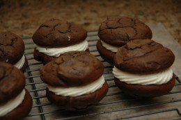 Chocolate whoopie pies with marshmallow filling! Can you say YUM?!?