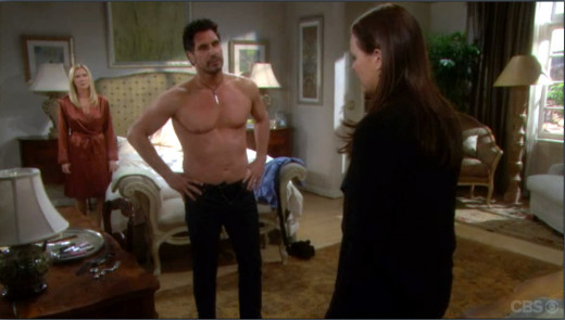 Katie is not happy to find Bill in Brooke's bedroom.