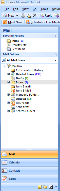 Tasks are accessible via the Folder list in Outlook 2007 and Outlook 2010.