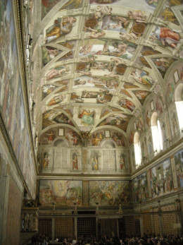 View of the interior of the Sistine Chapel.