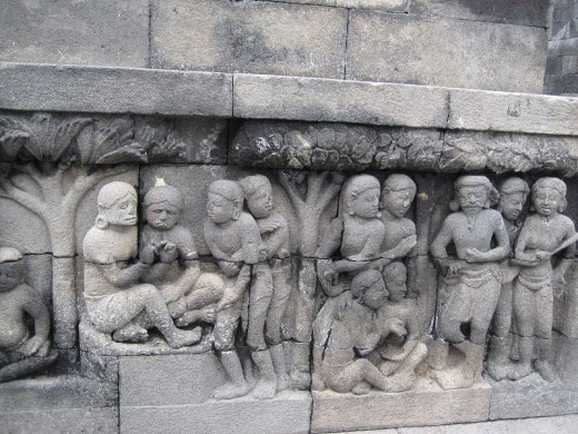 An example of one Karmawibhangga Relief, from Borobudur Temple, Magelang, Centra Java, Indonesia.
