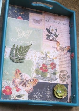 Vintage inspired decoupage tray