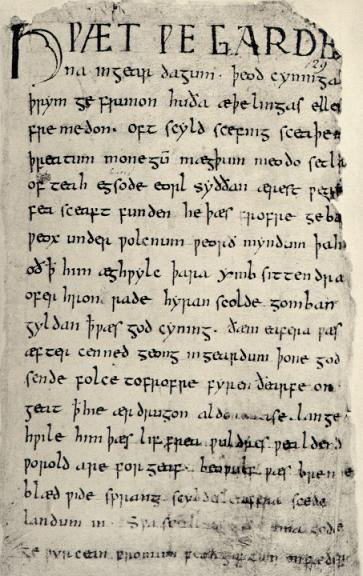 """The original image of the Beowulf manuscript comes from the anonymous Anglo-Saxon scribe who wrote the 'Nowell Codex', Cotton Vitellius A.x.v. 129 r...this image is public domain."" - Kip Wheeler"