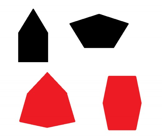 Two equilateral pentagons (black) and two equliateral hexagons (red).  Even though each shape has equal sides, they are irregular because the angles are unequal.