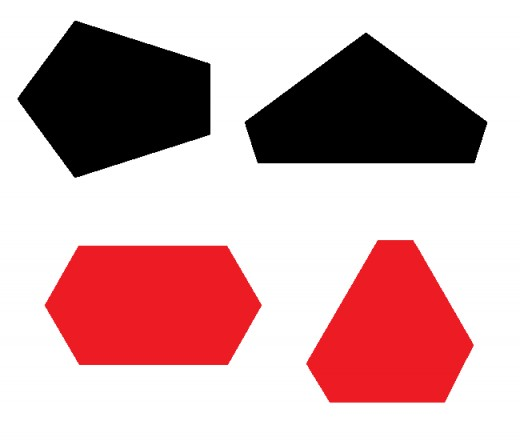 Two equiangular pentagons (black) and two equiangular hexagons (red). These are irregular polygons since their sides have unequal lengths.