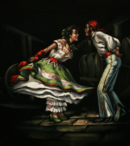 Flamenco in a velvet painting.