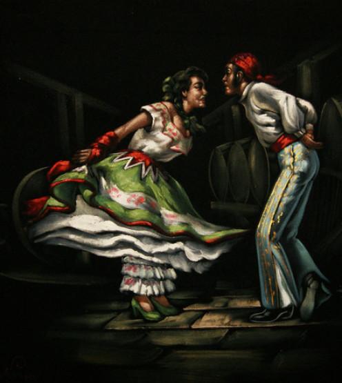 Flamenco in a velvet painting.