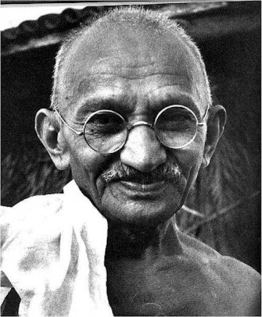 Mahatma Gandhi. Mahatma means great (maha) soul (Ātman).