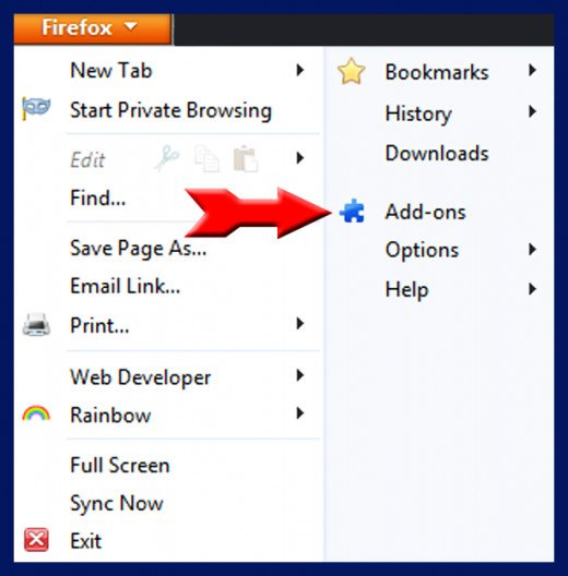 Screenshot 3. Expand your Options with Addons. Source: Mozilla Firefox
