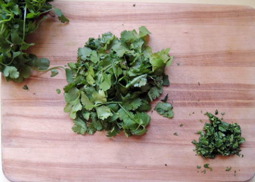 clean and chop some cilantro