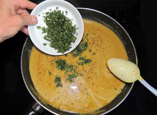 add minced cilantro