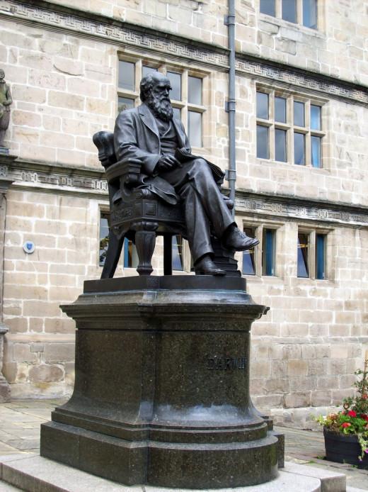CHARLES DARWIN STATUE, SHREWSBURY LIBRARY