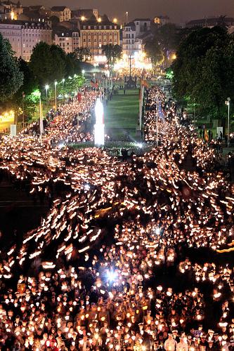 Pilgrims on their way to the famous Lourdes grotto.