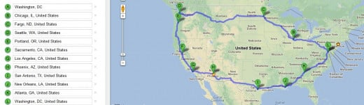 my planned route on Google maps.