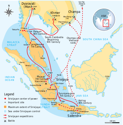 Maximum extent of Srivijaya Empire around 8th century. Expanding from Sumatra, Central Java, to Malay Peninsula. The red arrows show the series of Srivijayan expedition and conquest, in diplomatic alliances, military campaign, or naval raids.