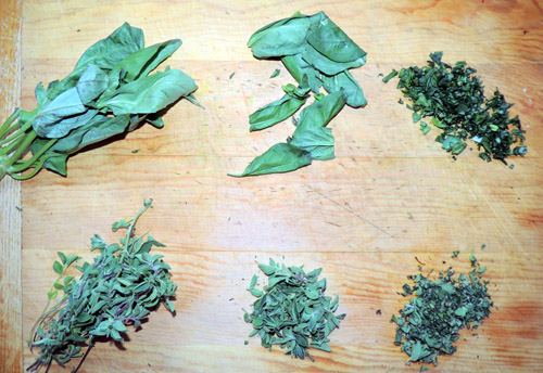 Left to right, top to bottom, herb prep
