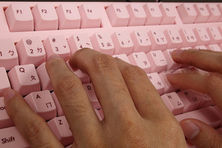 Writing with Scrivener using a pink-colored keyboard, perhaps?