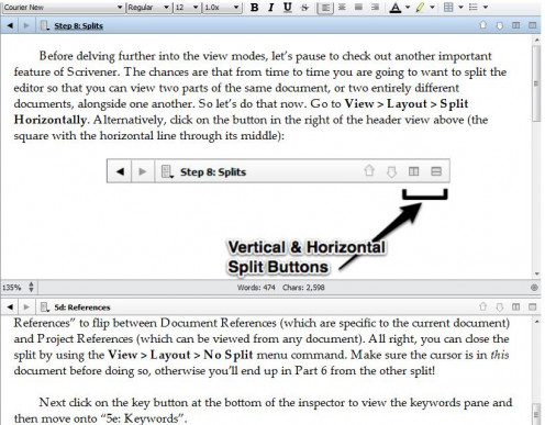 Scrivener's split-view mode can either be horizontal or vertical. With this mode, you can easily refer to other files while working on the other without much hassle.