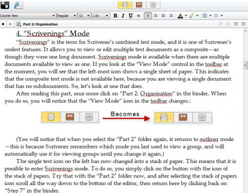 The Scrivenings mode is just like viewing an entire story in one single document.