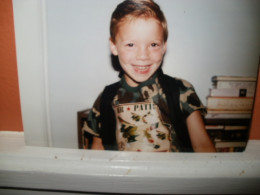 Christopher's first day of kindergarten.  Age 5.