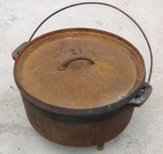 Even a bit of rust won't affect the good food that can come from this old cast iron pot.
