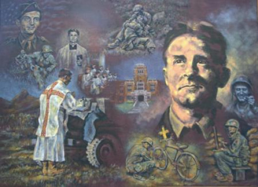 Painting of Fr. Kapaun by artist Cynthia Hitschler, commissioned by Kennrick-Glennon Seminary class of 2012. Fr. Kapaun was a 1940 graduate.