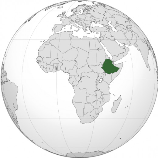 Ethiopia is at the eastern tip of Africa.