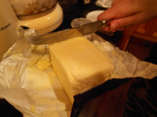 Cut butter into slices or cube before mixing for the topping
