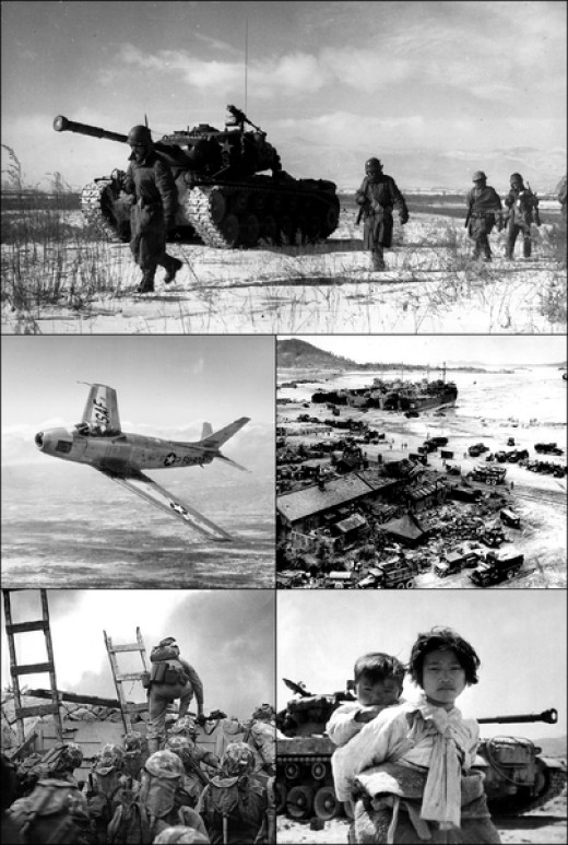 A montage of images from the Korean War,  including an American F-86 Sabre fighter jet. The Korean War was the first war in which jet fighters played a major role and the last that propeller-powered planes were involved.