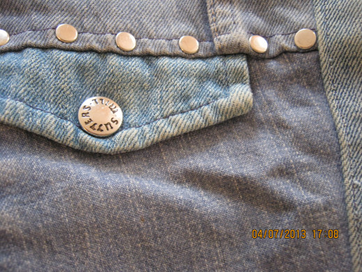Here's a close-up of a denim jacket I wore in the 7th grade, 1973.