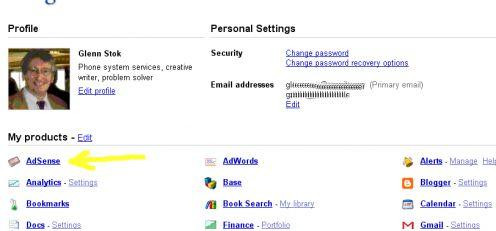 Selecting AdSense from my existing Google Account.