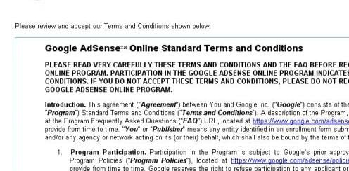 Google AdSense Terms and Conditions.  Google and the Google logo are registered trademarks of Google Inc., used with permission.