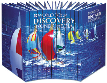 Colorful set of encyclopedias with sail boats on the front binders