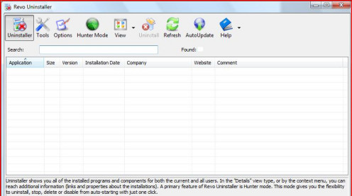 This is the main interface of Revo Uninstaller. You will see it populated with the list of all programs that you have installed on your laptop or computer.